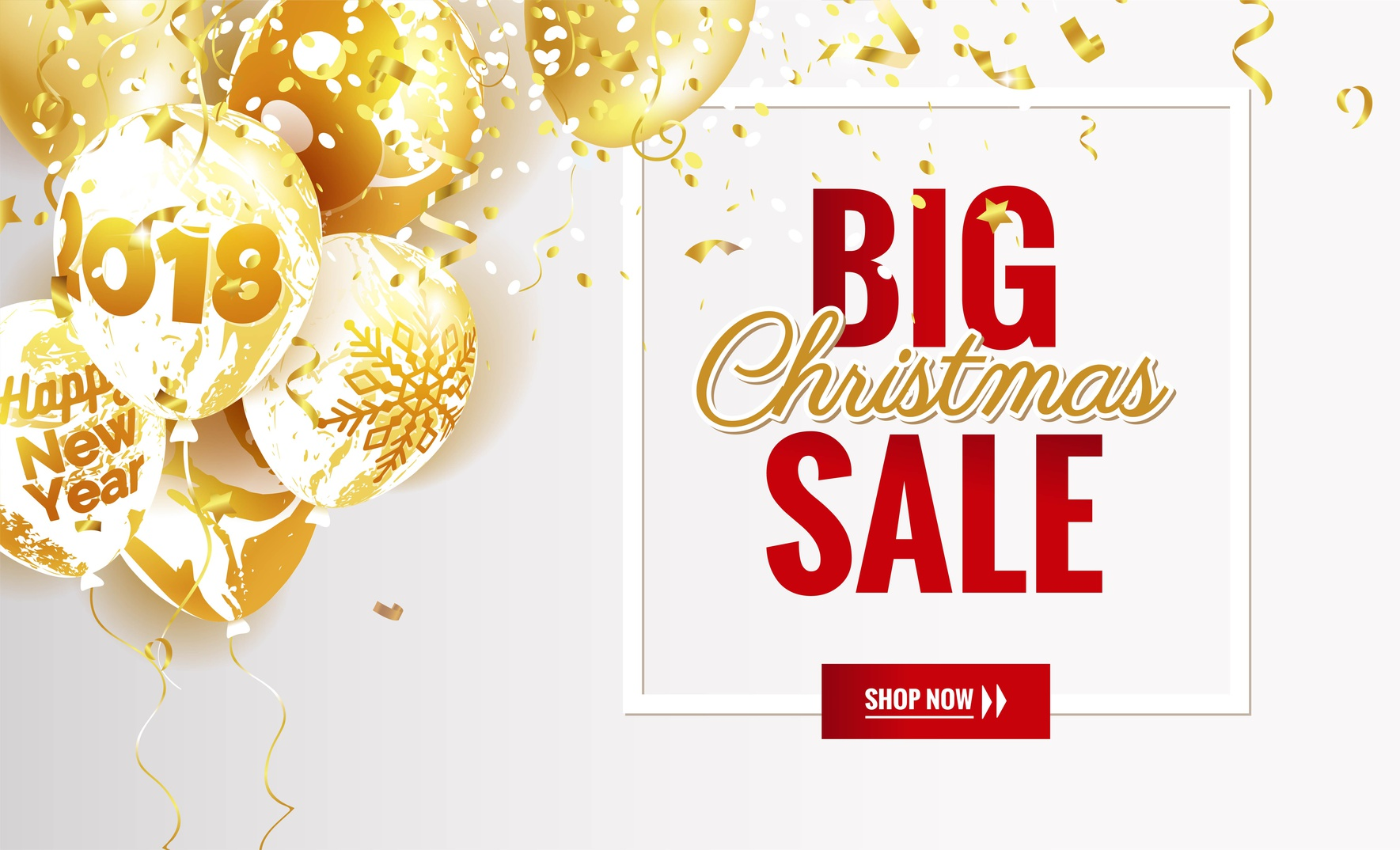 Big christmas sale poster. Beautiful winter background with golden balloons and frame. Voucher discount. Vector illustration